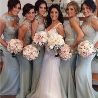 Gray bridesmaid dress,long bridesmaid dress,Mismatched bridesmaid dress,Lace bridesmaid dress,BD031  alt=