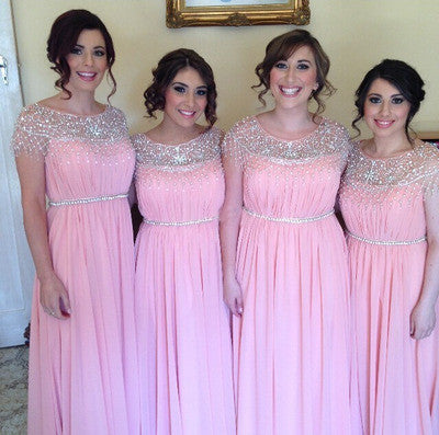 Pink bridesmaid dress,long bridesmaid dress,Cheap bridesmaid dress,Charming bridesmaid dress,BD056