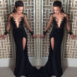side slit Prom Dress,long prom dress,black lace prom dress,evening dress,BD703