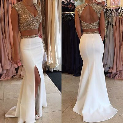 two pieces Prom Dresses,white prom dress,long prom Dress,formal prom dress,charming beaded evening dress 2017,BD2807