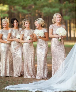 Gold Sequin bridesmaid dress,long bridesmaid dress,Short Sleeves bridesmaid dress,Open Back bridesmaid dress,BD21005