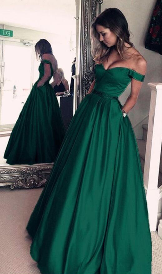off shoulder green simple elegant long prom dress,BD3540