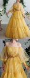 Yellow tulle lace long prom dresses yellow lace tulle formal dress, HB2093