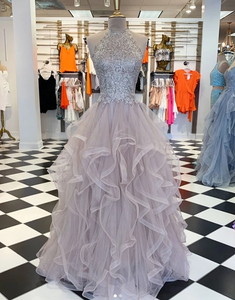 Unique hight neck tulle lace long prom dresses tulle formal dress, HB2095