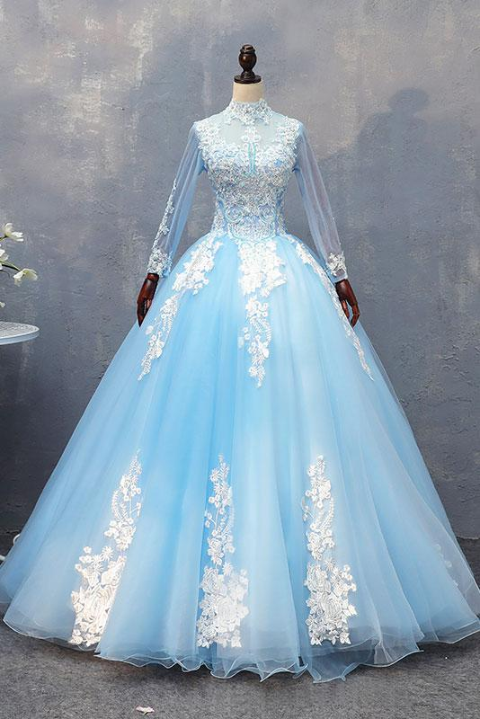 modest light blue high neck long sleeves floor-length prom dress,HB78