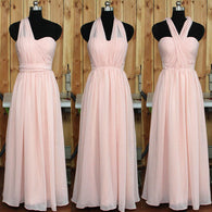 blush pink bridesmaid dress,long bridesmaid dress,convertible bridesmaid dress,chiffon bridesmaid dress,BD620  alt=