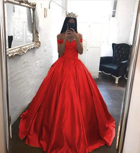 Elegant Lace Off The Shoulder Ball Gowns Satin Wedding Dresses 2018 ,PD0707