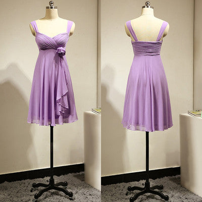short bridesmaid dress,lilac bridesmaid dress,chiffon bridesmaid dress,cheap bridesmaid dress,BD690