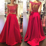 Red prom Dress,Long Prom Dresses,Two pieces prom Dress,Off shoulder prom dress,Charming prom dress,BD070