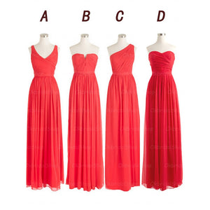 Red bridesmaid dress,long bridesmaid dress,mismatched bridesmaid dress,cheap prom dress,BD410