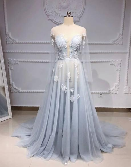 sexy see through light grey tulle long sleeves prom dress,HB102