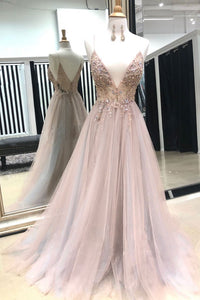 spaghetti straps v-neck long tulle beaded princess prom dress,HB30