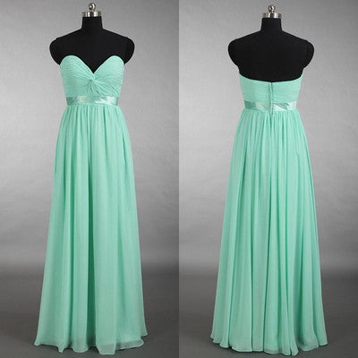 long bridesmaid dress,mint bridesmaid dress,chiffon bridesmaid dress,sweetheart bridesmaid dress,BD623
