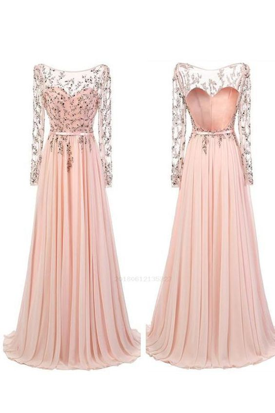 pink long sleeves beaded prom dress backless long evening dress,HB161