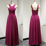 fuchsia bridesmaid dress,long bridesmaid dress,chiffon bridesmaid dress,cheap bridesmaid dress,BD624  alt=