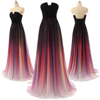 Chiffon prom dress,long Prom Dress,2016 evening gown,gradient evening gown,strapless prom gown,BD1006  alt=