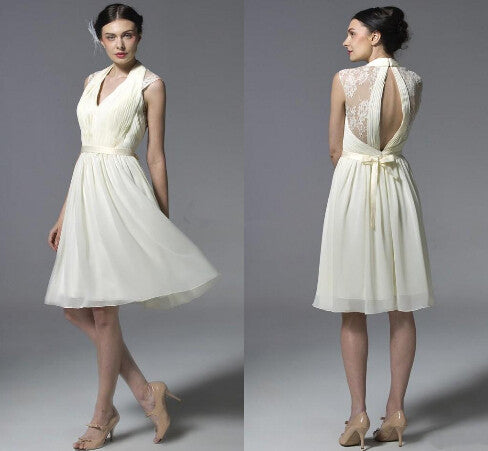 short bridesmaid dress,ivory bridesmaid dress,Cheap lace bridesmaid dress,short prom dress,BD431