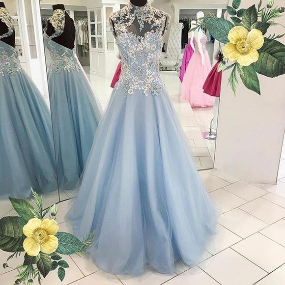 Light Blue Tulle With Lace Appliques High Neck Modest Long Prom Dresses,HO93