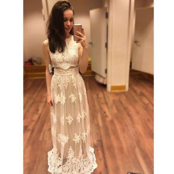 two pieces ivory lace prom dress, 2019 long cheap evening dress ,BD3107