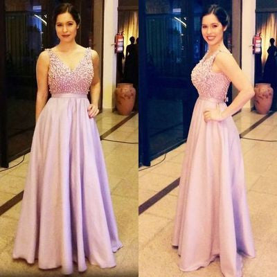 Lilac prom Dress,Long Prom Dresses,A-line prom Dress,V neck prom dress,Charming prom dress,Evening dress,BD069