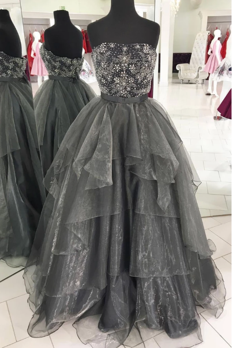 strapless grey beaded long prom dress fluffy ball gown, HB2083