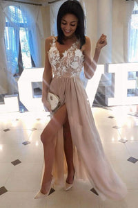 simple chiffon with lace appliques side slit long cheap prom dress,HB91