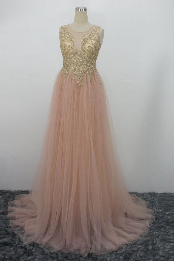blush pink tulle with lace appliques long prom dress cheap evening dress,HB23
