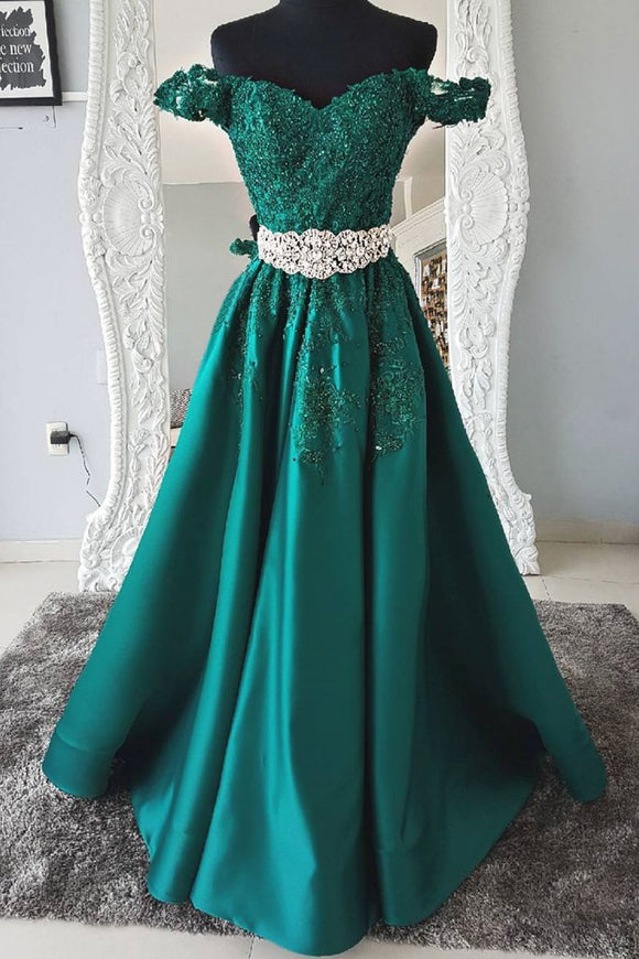 off shoulder emerald green satin long prom dress cheap evening dress,HB23