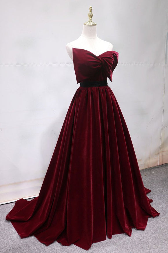burgundy velvet strapless formal long prom dress,HB71