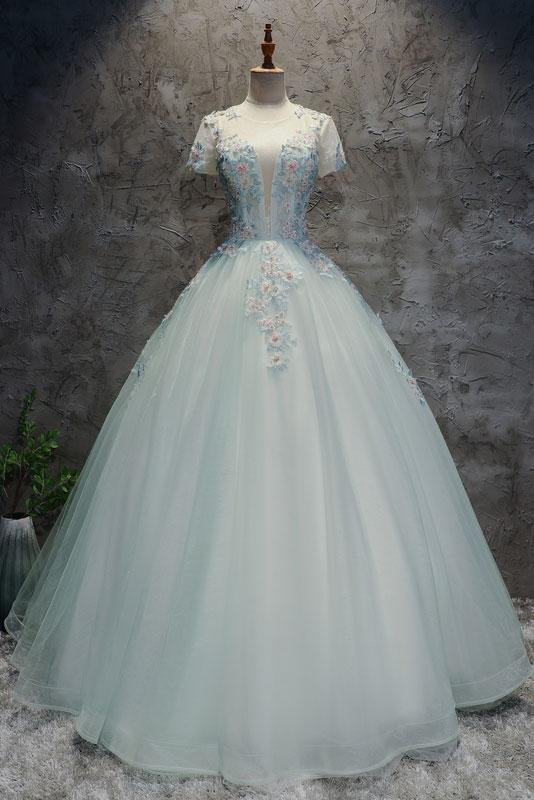 fluffy formal short sleeves long prom dress charming princess ball gown,HB21