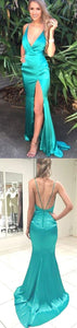 simple aquamarine blue v-neck side slit long dress, HB2085