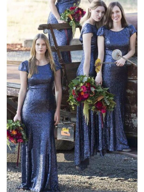 navy blue sequin bridesmaid dress,long bridesmaid dress,short sleeves bridesmaid dress,sparkle bridesmaid dress,BD2635