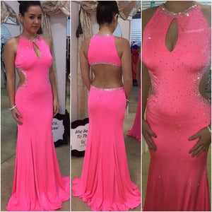hot pink prom Dress,long Prom Dresses,elegant Evening Dress,mermaid prom dress,formal evening dress,BD2855