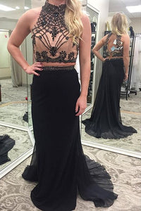 two pieces prom dress,long Prom Dress,black prom dress,high neck prom dress,charming evening dress,BD2886