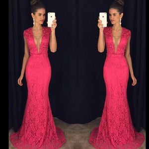 hot pink lace prom dress,long Prom Dress,elegant prom dress,mermaid prom dress,short sleeves evening dress,BD2890