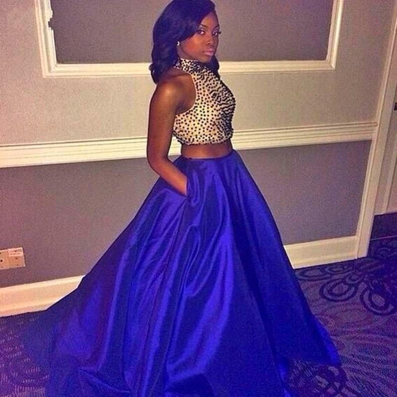 royal blue prom dress,long Prom Dress,A-line prom dress,two pieces prom dress,charming evening gown,BD2892