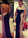 black Prom Dresses,long prom dress,beaded prom Dress,side slit prom dress,cap sleeves evening dress,BD2982