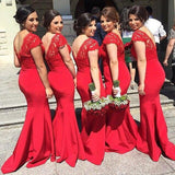Red bridesmaid dress,long bridesmaid dress,sheath V neck bridesmaid dress,Lace bridesmaid dress,BD121
