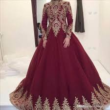 vintage modest long sleeves burgundy long A-line prom dress,HB85