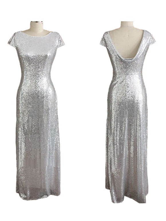 sliver bridesmaid dress,sequin bridesmaid dress,long bridesmaid dress,sparkle bridesmaid dresses,BD836
