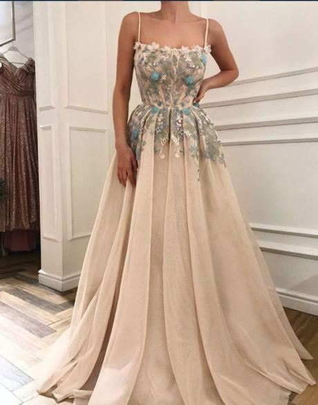 spaghetti straps light champagne tulle A-line long prom dress with appliques,HB100