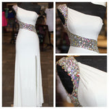White Prom Dress, Charming Prom Dress, One shoulder Prom Dress, 2016 Prom Dress, Evening Dress,BD110