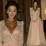 Charming prom Dress,Pink Prom Dresses,V neck prom Dress,Long sleeves prom dress,Evening dress,BD067
