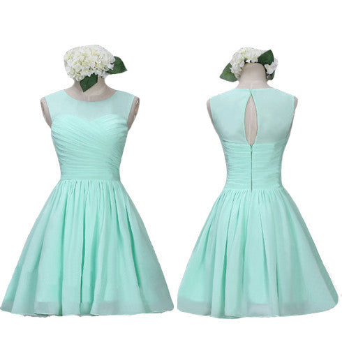 short bridesmaid dress,mint bridesmaid dress,Cheap bridesmaid dress,chiffon bridesmaid dress,BD433