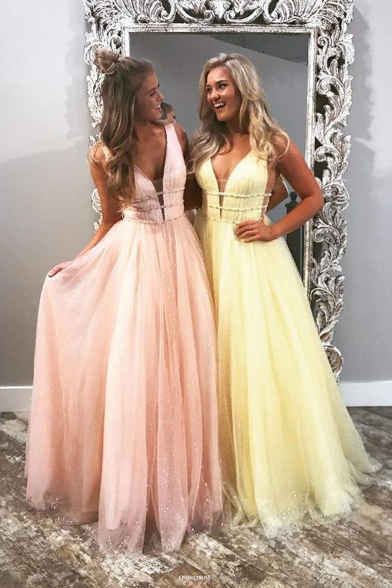 chic v-neck tulle long prom dress,HB190