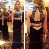 Black Prom Dresses,Two pieces Prom Dress,Long Prom dress,party prom Dress,high neck prom Dress,BD414