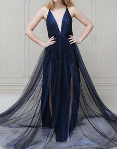 simple navy blue tulle v-neck long prom dress with slits,HB95