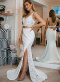 two pieces white lace top side slit mermaid skirt long prom dress, HB200