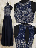 dark navy Prom Dresses,beaded Prom Dress,formal Dresses For Prom,long Prom Dress,charming Prom Dress,BD2731
