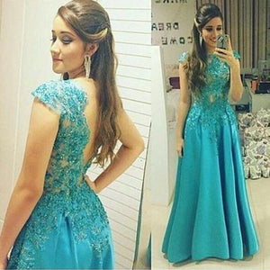 blue Prom Dresses,long prom dress,cap sleeves prom Dress,A-line prom dress,lace applique prom gown 2017,BD2801